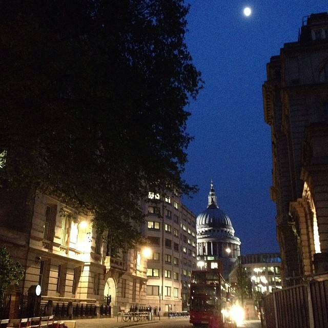 9:15pm - leaving work. St. Paul's Cathedral and a hazy moon. #london #night #moon #nofilter #stpauls