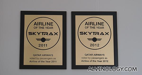 Awards won by Qatar Airways, displayed at their office