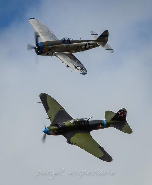 ILYUSHIN II-2M3 SHTURMOVIK, P-47D Thunderbolt, P-51B Mustang