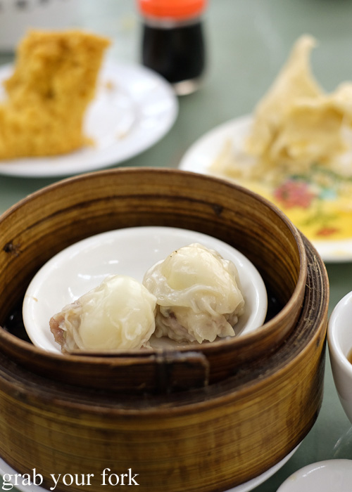 Steamed pork meatballs with quail egg at Lin Heung Tea House in Central, Hong Kong