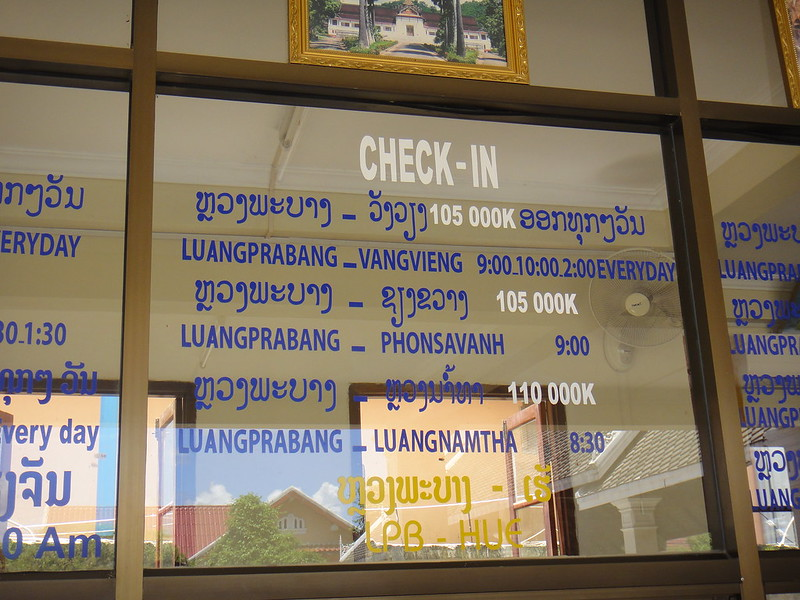 Luang Prabang Bus Connections and Ticket Price Signs 4
