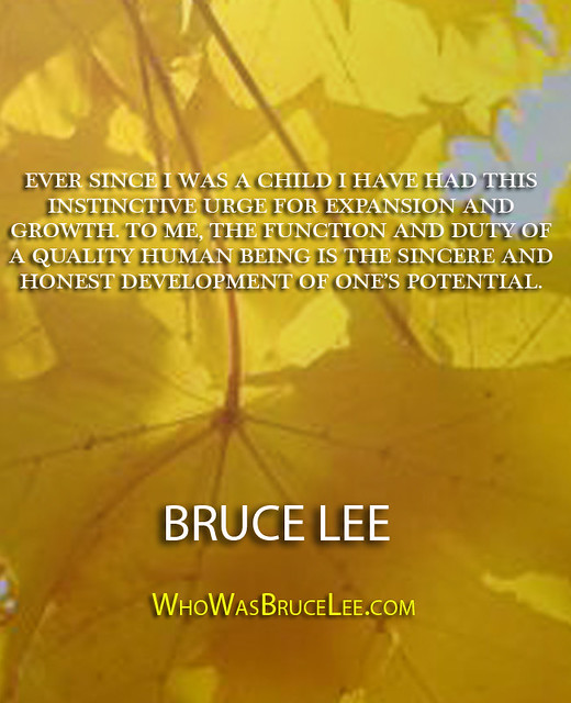 """Ever since I was a child I have had this instinctive urge for expansion and growth. To me, the function and duty of a quality human being is the sincere and honest development of ones potential."" - Bruce Lee"