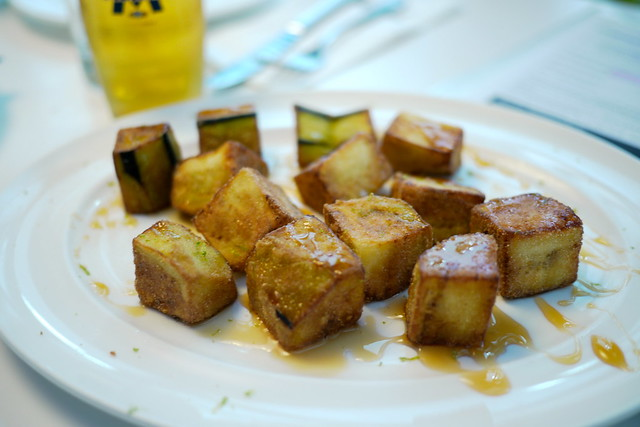 Eggplant Cubed with Honey Drizzle