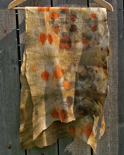 Wool felted scarf eco printed