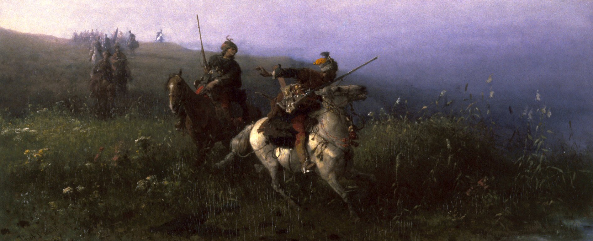 Tropa de jinetes tártaros en la estepa de Tartaristán. Józef_Brandt (1841-1915)