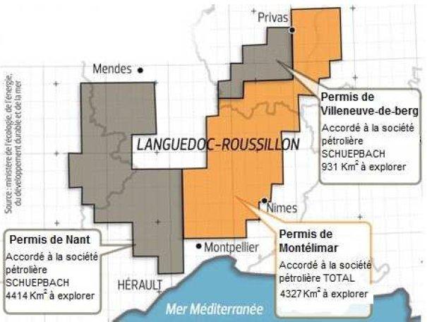 Carte des permis de recherche en gaz de schiste accordés en 2010 dans le sud de la France