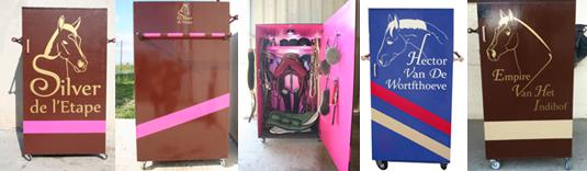 Fabrication de stickers originaux pour la personnalisation de casier d'équitation. Réalisation en collaboration avec FB Equestre.