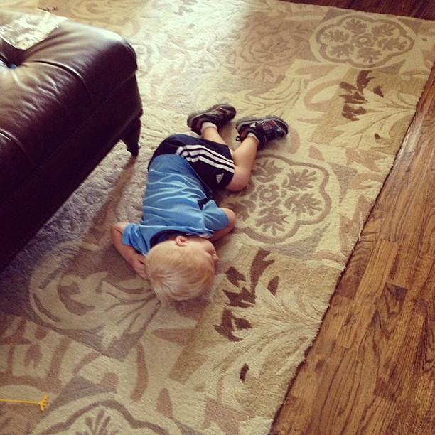 Asleep on the floor?  Not normal behavior. Poor Owen's feeling under the weather:(