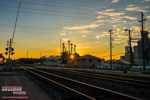 railroad sunrise georgia gainesville flare railroadcrossing amtrakstation hallcounty thesussman sonyalphadslra550 sussmanimaging