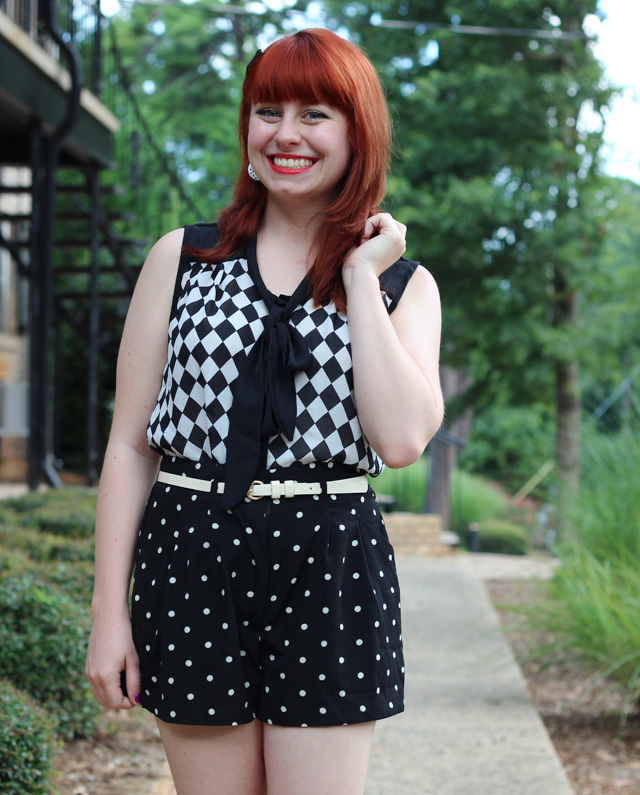Black and White Checkerboard Print with Polka Dots