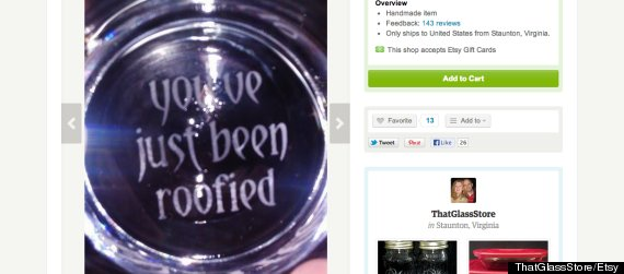 "image of etched-glass message ""you've just been roofied"""