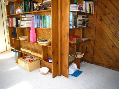 Toddler Shelves near Older Sibling's Shelves (Photo from What DID We Do All Day)