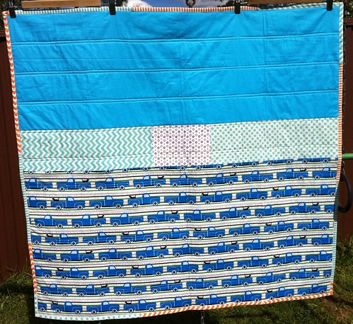 Fly the Flag Quilt - Aqua version back