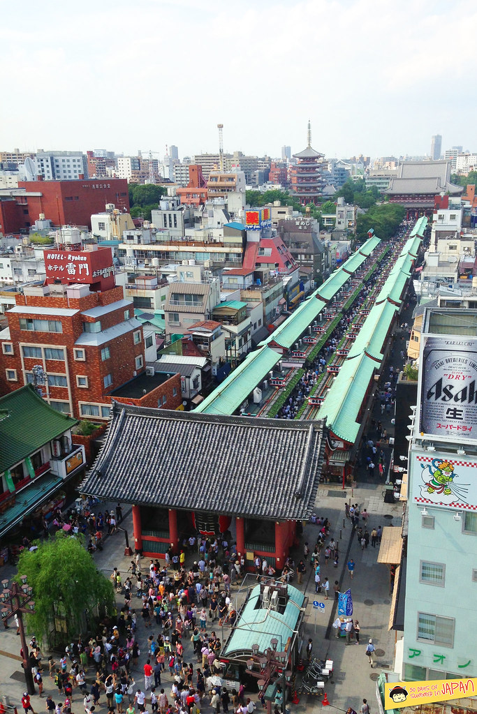 Asakusa - Kaminarimon Temple Gate from above