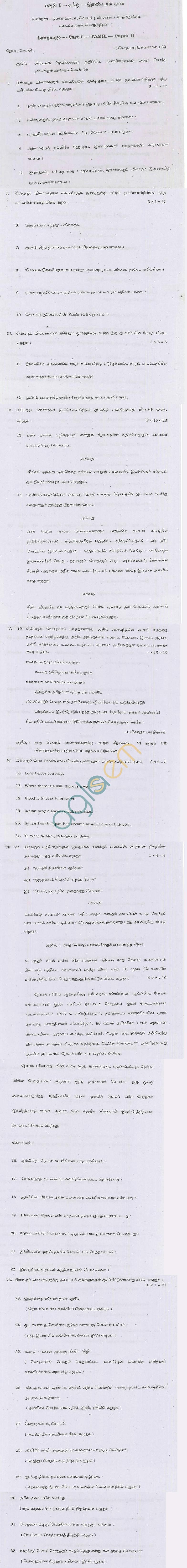 TN Board Higher Secondary (Plus 2)TamilQuestion PapersJune 2011