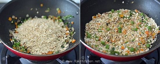 how to make oats upma step2