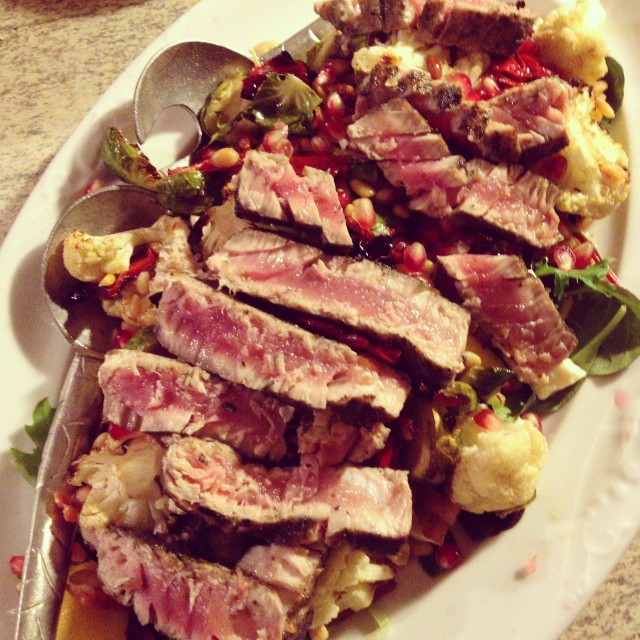 blackened tuna + roasted cauliflower + Brussels sprouts + pomegranate salad #dinnerwhilethechildisaway