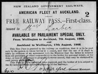 Free Railway Pass - First Class 1908