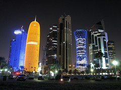 Doha buildings lit up at night