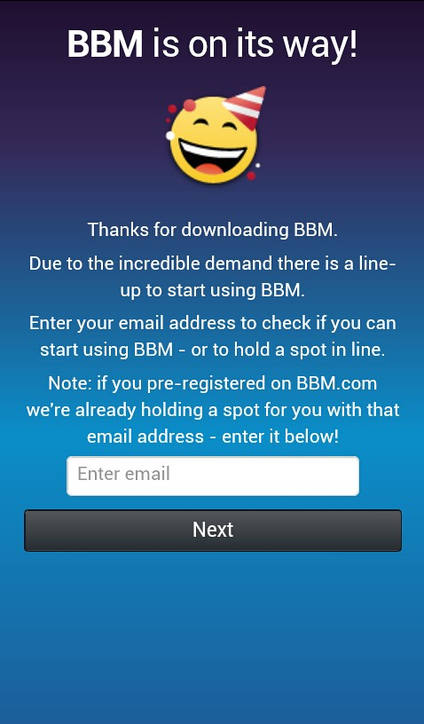 Blackberry BBM Welcome Screen
