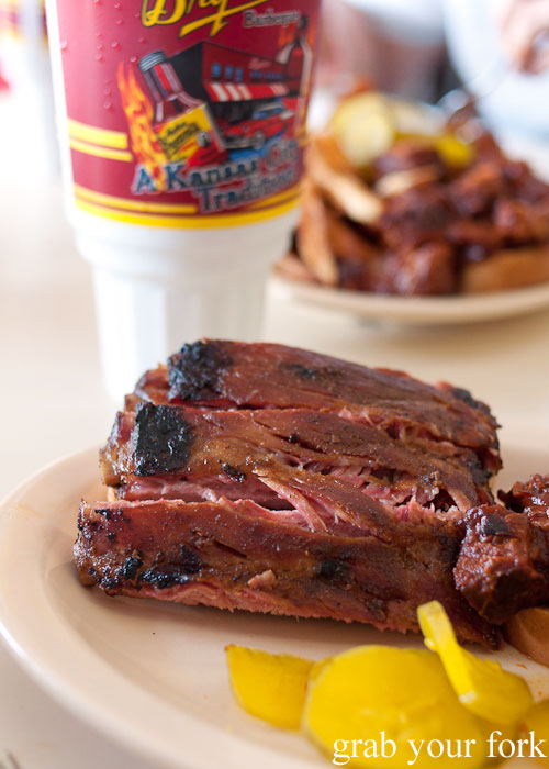 Arthur Bryant's pork ribs meat smoked barbecue bbq Kansas City Missouri