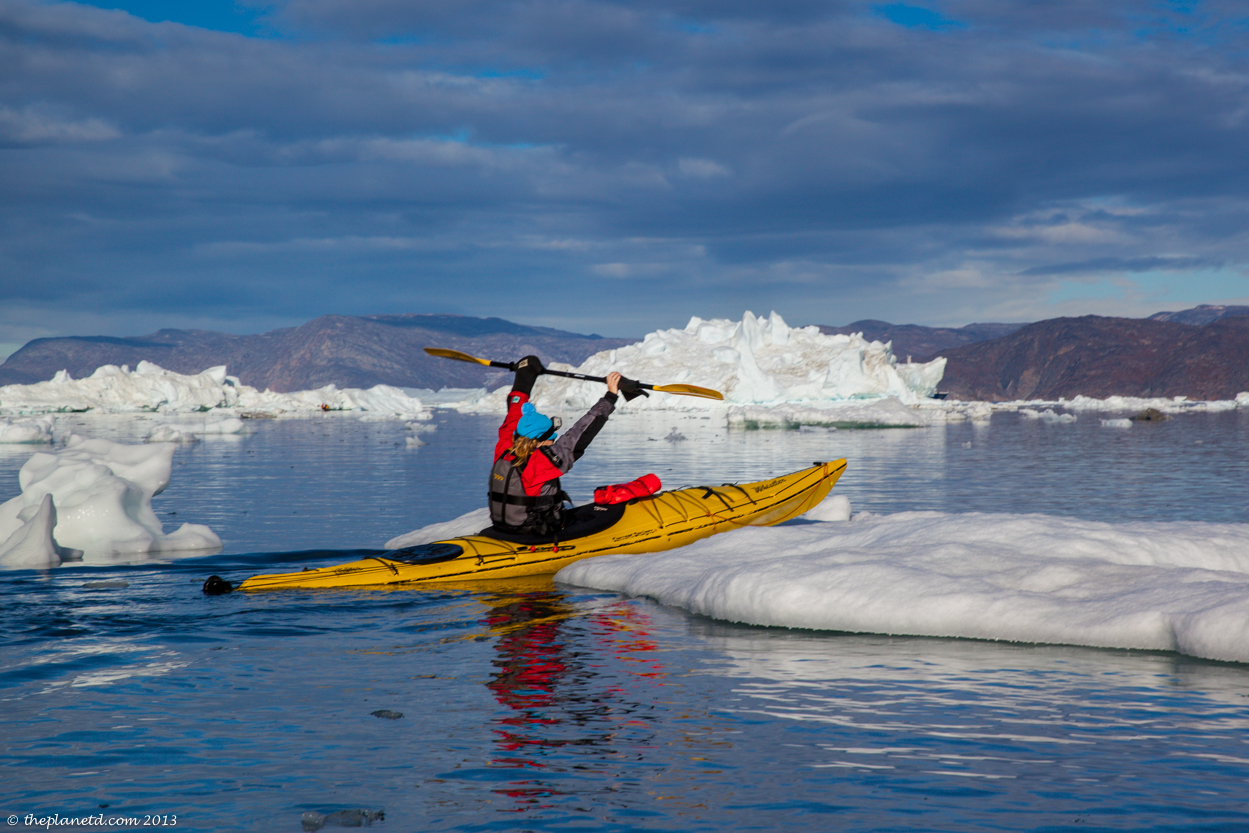 Deb beaches her kayak on floating ice!