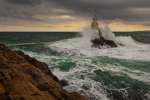 sea lighthouse black clouds landscape coast rocks seascapes dramatic bulgaria ahtopol