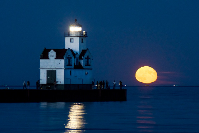 Full Moon, Lighthouse, Lake Michigan, Kewaunee, WI, Night, People