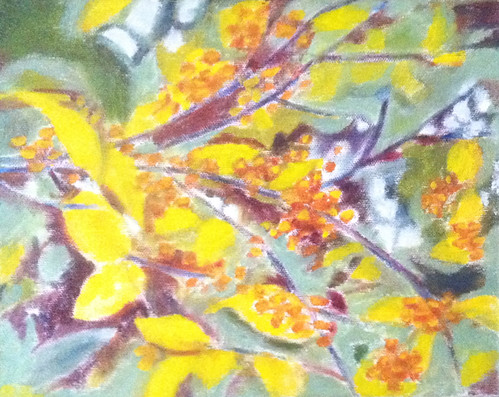 Branch with Golden Berries (Oil Bar Painting as of Dec. 10, 2013) by randubnick