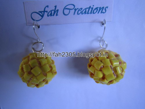 Handmade Jewelry - Paper Quilling Globle Earrings (Light Yellow - H) (1) by fah2305