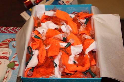 Orange & White rag tie garland
