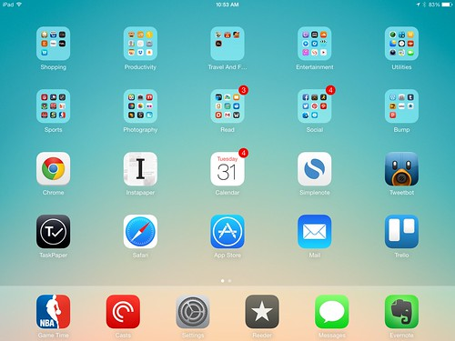 What my iPad Home Springboard Looks like on the last day of 2014 by bump