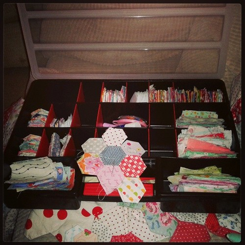 Loving my new hexy storage, now for a little sewing before the day gets crazy busy!