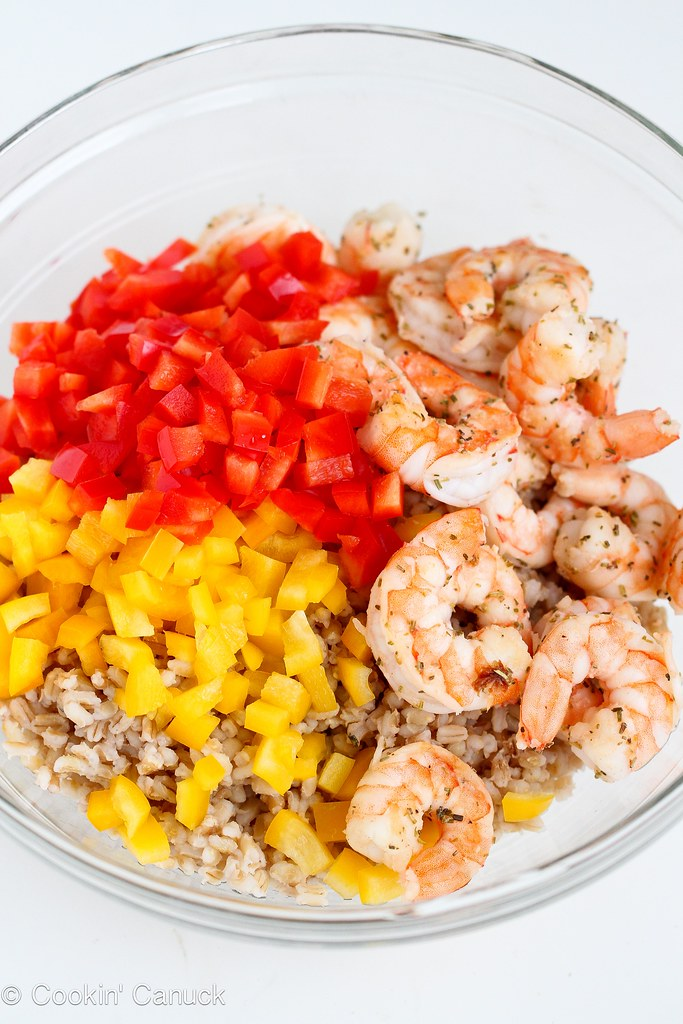 Toasted Barley & Shrimp Salad Recipe | cookincanuck.com #cleaneating #wholegrain