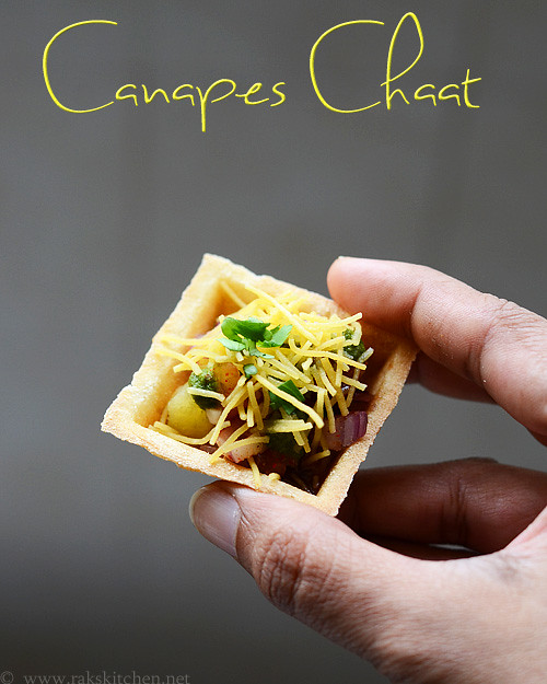 Canapes chaat canape chaat recipe raks kitchen for How to make a canape
