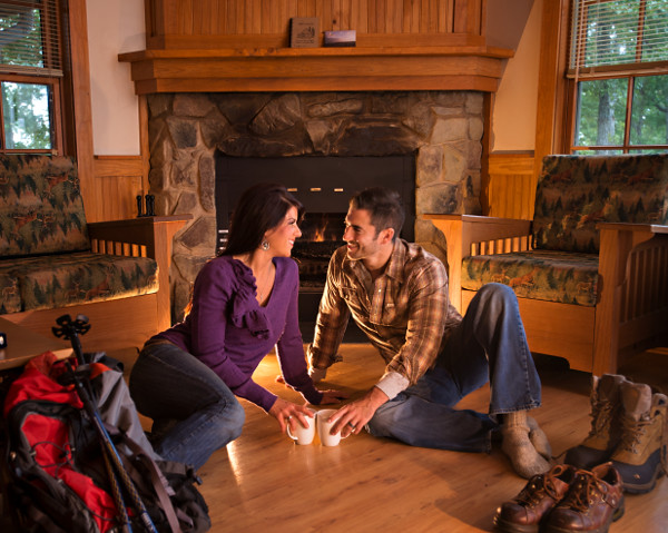 Best place to hold hands is in front of the fire in cabin 2 at Occoneechee State Park. Photo credit: Robert Harris, Mecklenburg County Tourism