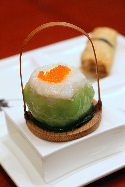 Duo of Dim Sum: Steamed Scallop Dumpling with Shrimp and Diced Vegetables; Deep-fried Beancurd Skin Roll with Black Moss and Dried Oyster