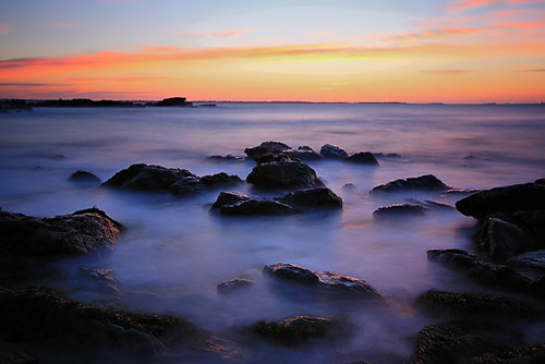 ocean new ri blue red england seascape water clouds sunrise landscape island dawn coast rocks rhode