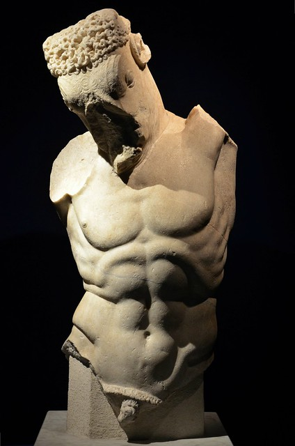 Marble statue of a Minotaur, part of a group with Theseus, 1st century AD, found in Rome in Via San Tommaso in Parione in 1895, Monsters. Fantastic Creatures of Fear and Myth Exhibition, Palazzo Massimo alle Terme, Rome