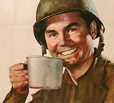 Cartel de soldado bebiendo café