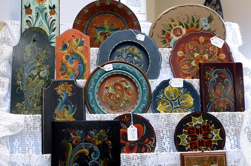 Decorated objects, Rosemaling exhibit, Stoughton