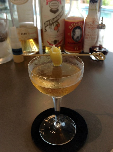 Spring Sazerac (Toby Maloney) with Pierre Ferrand 1840 cognac and dry curaçao, demerara syrup, orange and Angostura bitters, St. George absinthe