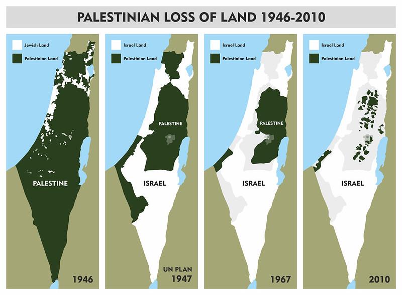 這張圖可以看出從1946年到2010年以色列領土之範圍擴張,綠色部份為巴勒斯坦領土,白色部份則為以色列(非法占領的)領土。在最右邊的2010年部分則可清楚看到目前在旦河西岸的占領區內,以色列興建總長達721公里、高達8公尺的種族隔離牆 (Apartheid Wall)的結果,沿著以色列的學校、醫院等基礎設施而建的隔離牆,切斷了巴勒斯坦人原先的田地與房舍,將聚落肢解為彼此無法通連的「群島」。(圖片來源:Jewish Voice for Peace—Chicago)