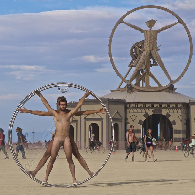 naturist gymnastics wheel Vitruvian Man camp Gymnasium 0000 Burning Man, Black Rock City, NV, USA