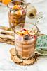 Pumpkin chocolate mousse with cinnamon, almonds,selective focus