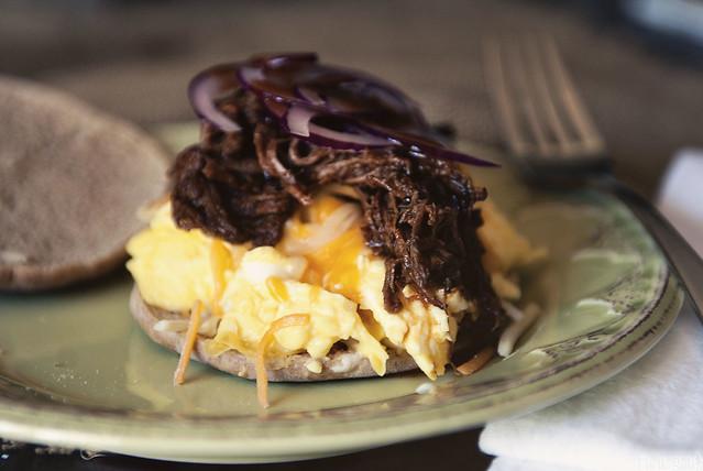 BBQ Brisket Egg Sandwich via GirlCarnivore.com