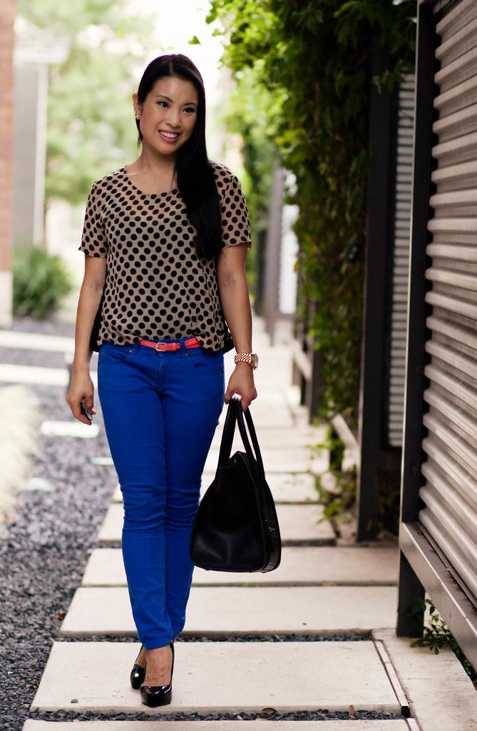 polka dot top, cobalt blue jeans, coral belt, celine mini luggage tote