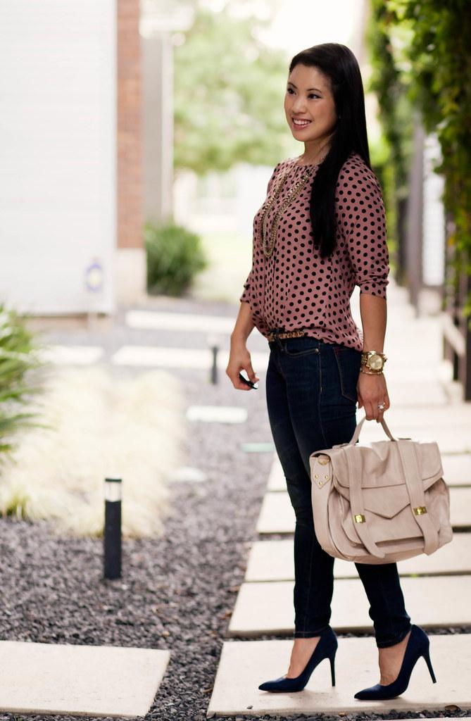 loft pink polka dot blouse, bdg grazer skinny jeans, leopard belt, loft petra suede pumps