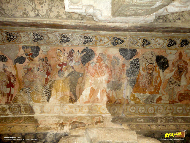 Mural Paintings on the cieling of the 100 pillared Ranga Mandapa or Dance Hall, inside the Veerabhadra Swamy Temple at Lepakshi, in Andhra Pradesh, India