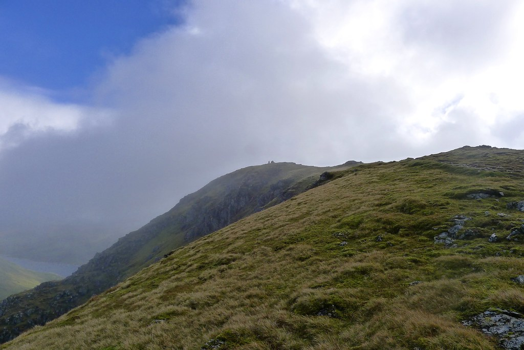 Cloud clearing from the summit of Beinn a'Chreachain